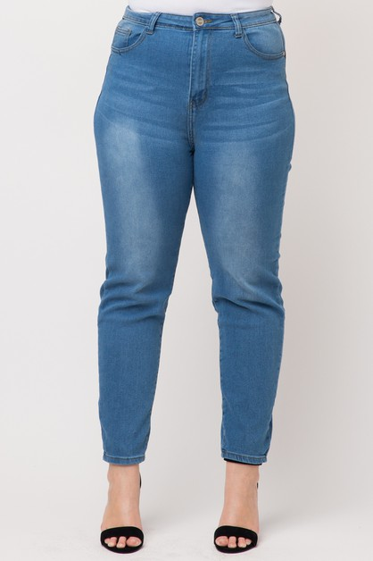 Plus High Waist Solid Skinny Jeans - orangeshine.com