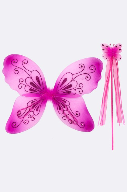 Glitter Butterfly Wand Kids Dress Up - orangeshine.com
