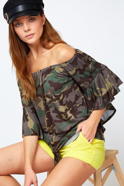 CAMO TIE FRONT OFF THE SHOULDER TOP - orangeshine.com