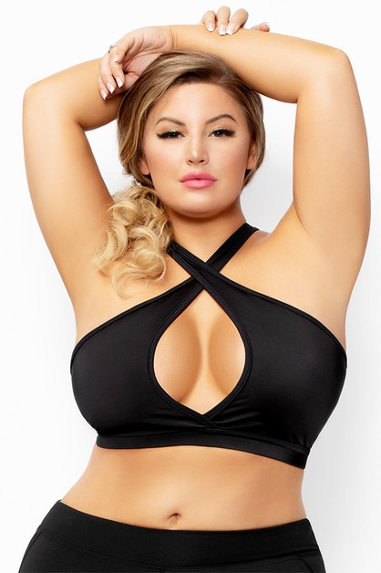 Halter Neck Keyhole Sports Bra  - orangeshine.com