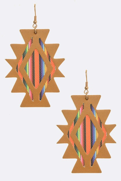 Aztec Pattern Cutout Earrings - orangeshine.com