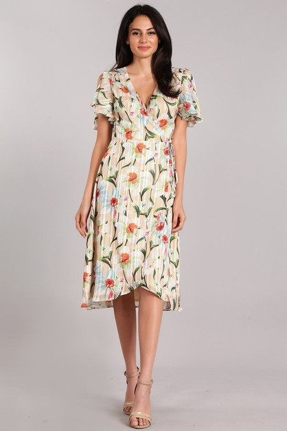 Striped Floral Print Midi Dress - orangeshine.com