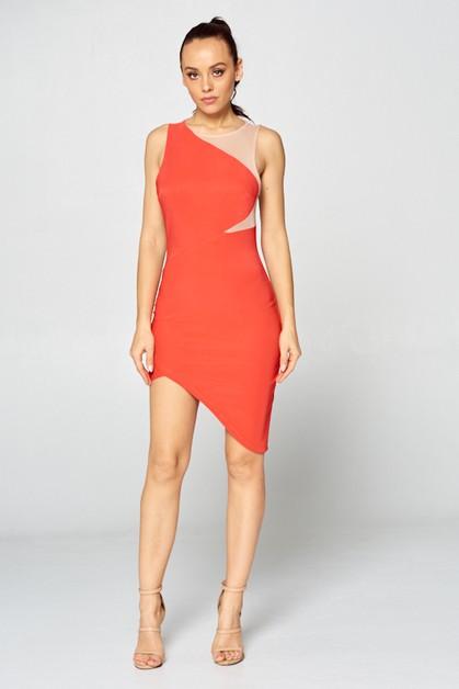 084a5acbe63d3 Sleeveless Color block Hi-low Dress - orangeshine.com