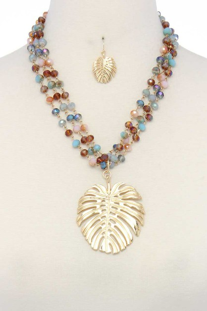 PENDANT BEADED MULTI STRAND NECKLACE - orangeshine.com