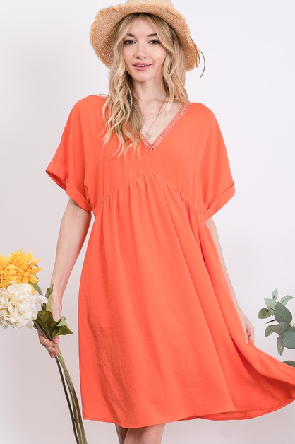 SOLID BASIC V-NECK DRESS - orangeshine.com