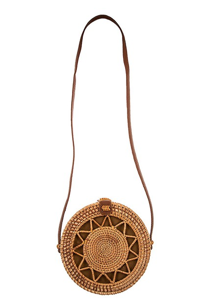 ROUND STRAW CUT OUT SHOULDER BAG  - orangeshine.com