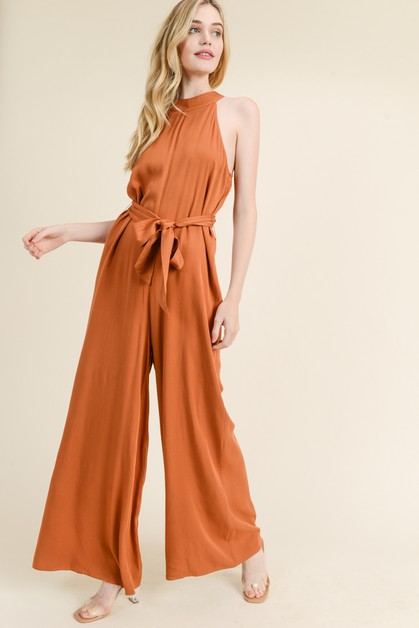 JUMPSUIT WITH WAIST TIE - orangeshine.com