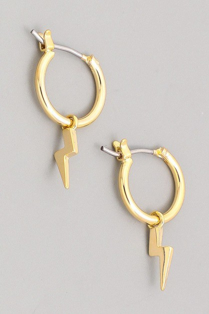 Mini Thunderbolt Hoop Earrings - orangeshine.com