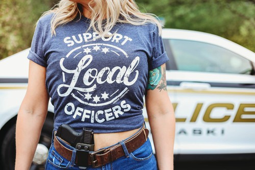 SUPPORT LOCAL OFFICERS GRAPHIC Tee - orangeshine.com