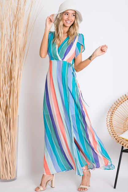 BOLD COLORBLOCK STRIPED MAXI WRAP DR - orangeshine.com