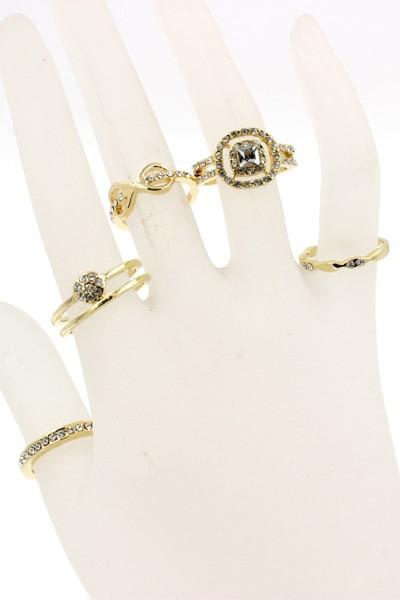 RHINESTONE METAL RING SET - orangeshine.com