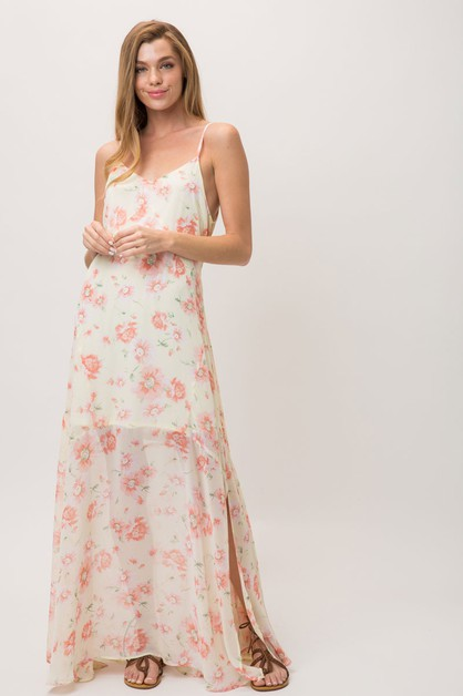 FLORAL PRINT OPEN SHOULDERS MAXI DRE - orangeshine.com