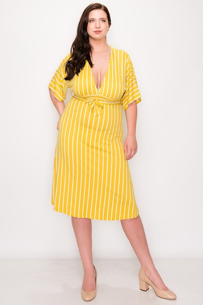 Plunging Stripe Plus Dress - orangeshine.com