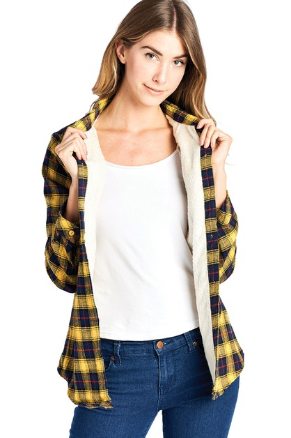 FLEECE LINED PLAID FLANNEL TOP - orangeshine.com