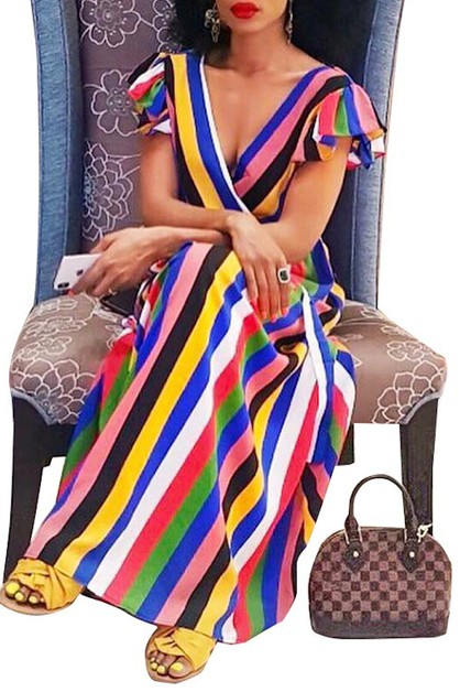 MULTI STRIPE MAXI DRESS V NECK SURPL - orangeshine.com