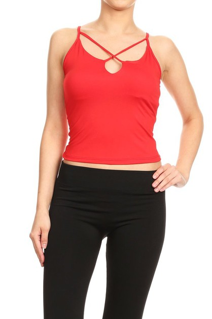Criss Cross V neck Tank Tops Solid   - orangeshine.com