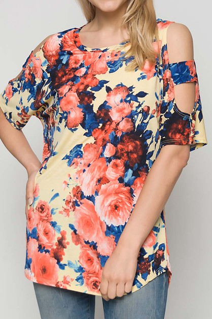 FLORAL  CUT OUT SLEEVE ROUND NECK TO - orangeshine.com