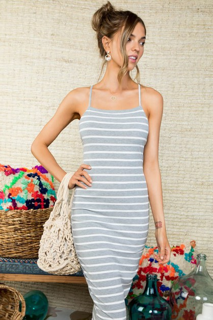Lace-up Back Stripe Print knit Dress - orangeshine.com