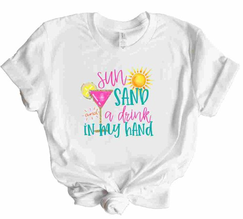 Sun Sand and a Drink in Hand Tee - orangeshine.com