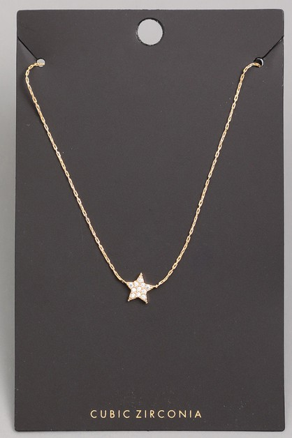 CZ Mini Star Stud Pendant Necklace - orangeshine.com