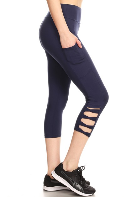 Criss Cross Capri Yoga Pants Pockets - orangeshine.com