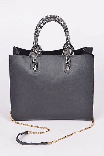 Snake Print Handle Convertible Tote - orangeshine.com
