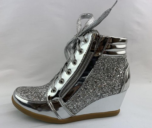 Women Glitter Wedge Booties - orangeshine.com