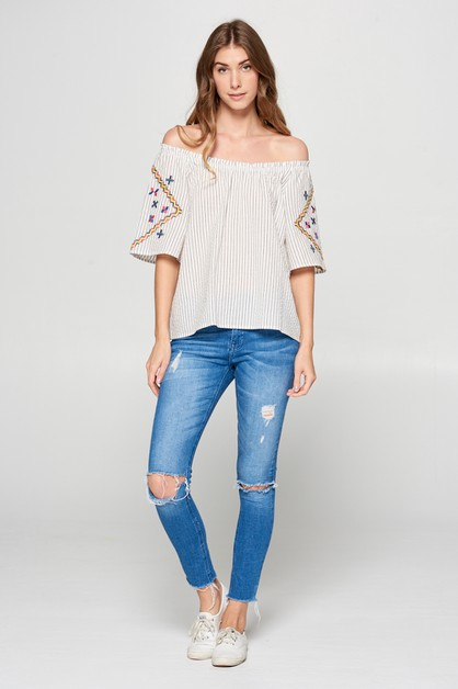 STRIPE AND EMBROIDERY TOP - orangeshine.com