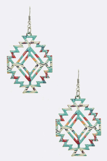 Aztec Cutout Metal Drop Earrings - orangeshine.com