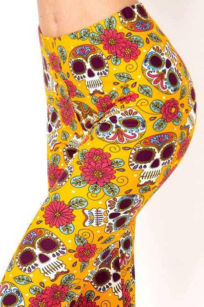 SUGAR SKULL PRINT LEGGINGS  - orangeshine.com