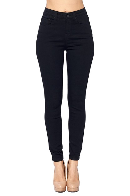 HIGH RISE SOLID BLACK JEANS - orangeshine.com