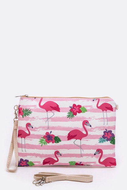 Flamingo Print Convertible Swing Bag - orangeshine.com