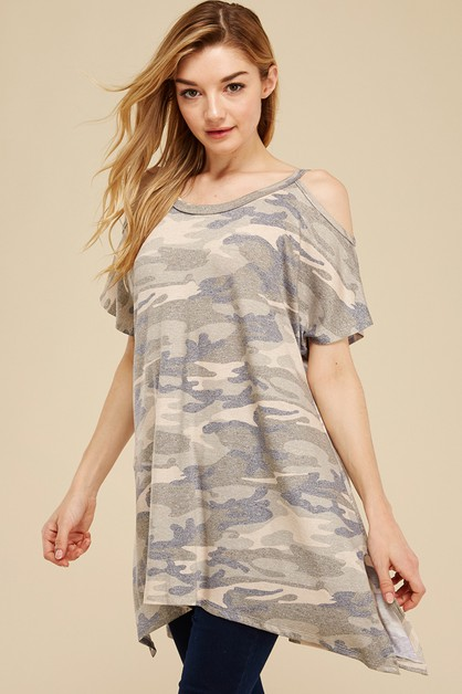CAMO COLD SHOULDER SLIT SIDES TUNIC - orangeshine.com