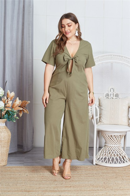 Cut Out Tie Front Jumpsuit - orangeshine.com
