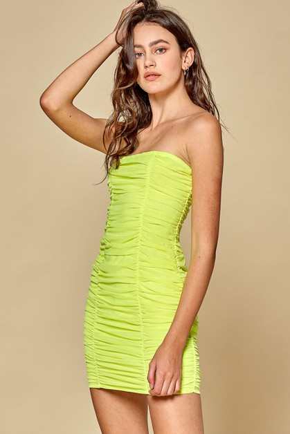 Neon Mesh Ruched Dress  - orangeshine.com