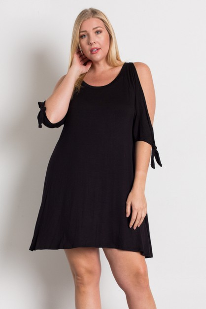 Plus Size Knit Open Shoulder Dress - orangeshine.com