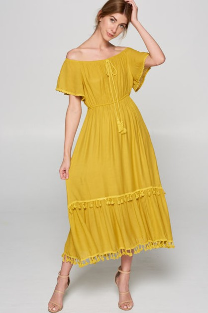 Off the Shoulder Maxi Dress - orangeshine.com