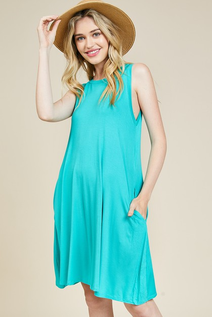 SLEEVELESS SIDE POCKET DRESS - orangeshine.com