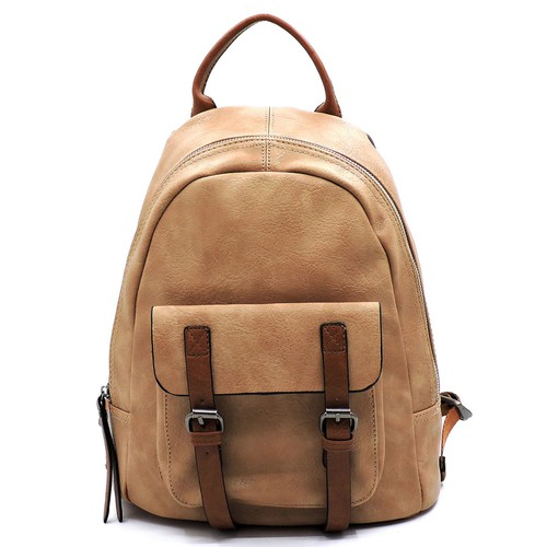 Fashion Front Buckle Pocket Backpack - orangeshine.com