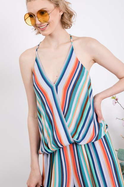 VIVID SUMMER STRIPE DRAPED TOP - orangeshine.com