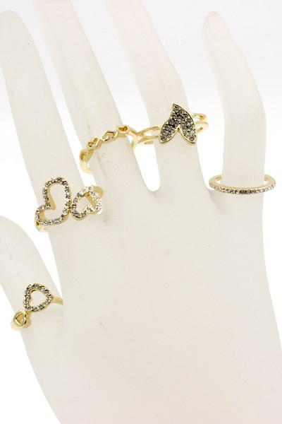 RHINESTONE HEART METAL RING SET - orangeshine.com