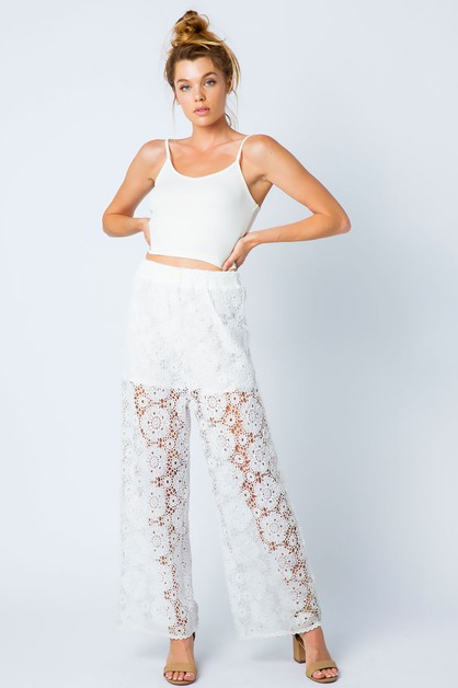 CROCHET LACE WIDE LEG PANTS - orangeshine.com