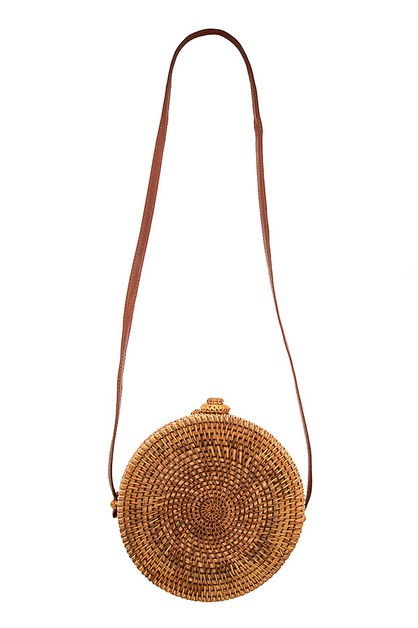 OPEN WOVEN CIRCLE STRAW SHOULDER BAG - orangeshine.com
