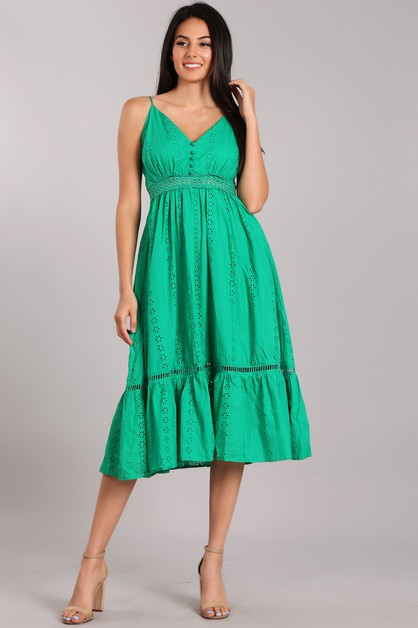 Eyelet Midi Dress - orangeshine.com