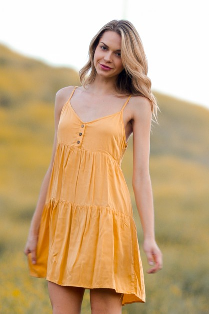Button Down Front Sleeveless Dress - orangeshine.com
