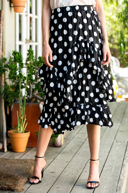 Polka Dot Printed Waist Band Skirts - orangeshine.com