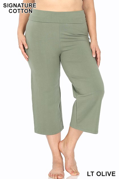 PLUS FOLD-OVER YOGA CAPRI PANTS - orangeshine.com