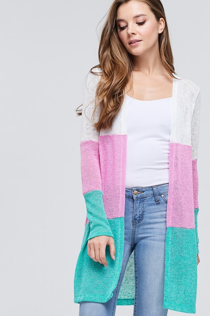 Multi-Color Block Knit Cardigan  - orangeshine.com