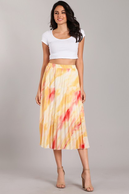 High Waisted Pleated Midi Skirt - orangeshine.com