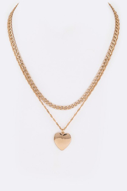 Heart Charm Layer Necklace - orangeshine.com